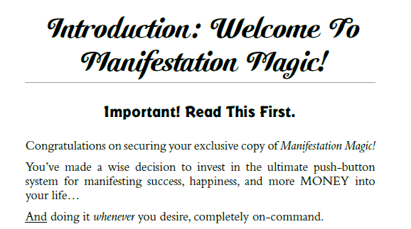 Manifestation Magic Guide Introduction